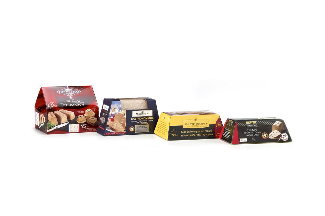 Trapèzes pour barquette de foie gras, marquage à chaud, vernis UV sélectif et acrylique brillant